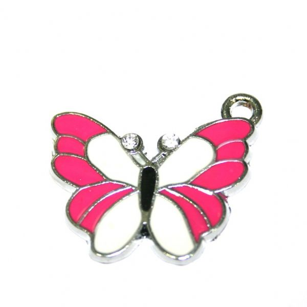 1 x 25*20mm rhodium plated pink/white butterfly enamel charm - S.D03 - CHE1295
